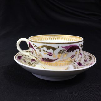 Derby teacup & saucer, purple & gilt scroll pattern no.52, c.1825-0