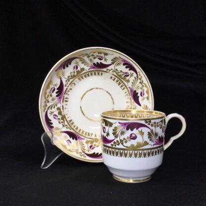 Derby cup & saucer, Purple & gilt scroll pattern no.52, c.1825-27783
