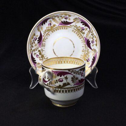 Derby cup & saucer, Purple & gilt scroll pattern no.52, c.1825-27784