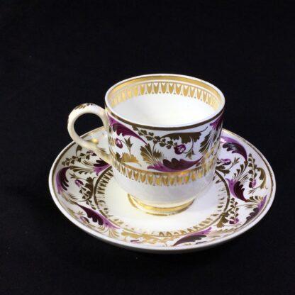 Derby cup & saucer, Purple & gilt scroll pattern no.52, c.1825-0