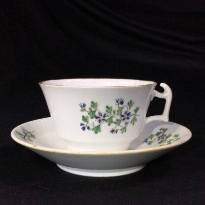 English porcelain cup & saucer, London shape with cornflower dec., c. 1820-0