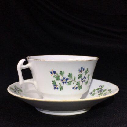 English porcelain cup & saucer, London shape with cornflower dec., c. 1820-27779