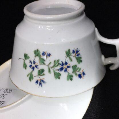 English porcelain cup & saucer, London shape with cornflower dec., c. 1820-27781