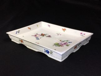 Vienna square tray, basketweave with flowers, c.1765 -0