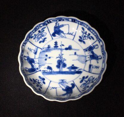 Chinese Export saucer, landscape & figure panels, Kanxi c. 1720 -0