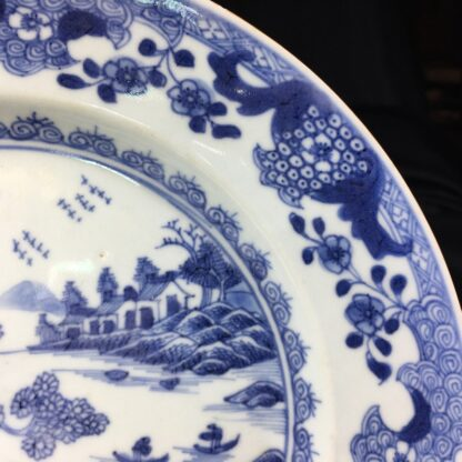 Chinese Export plate, river scene with boats, c.1770 -27757