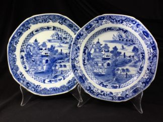 Pair of Chinese Export plates, island scenes, c. 1790 -0