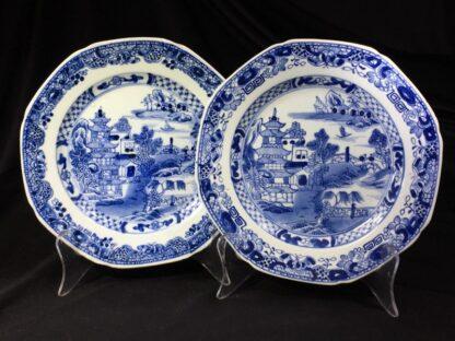Pair of Chinese Export plates, island scenes, c. 1790 -0