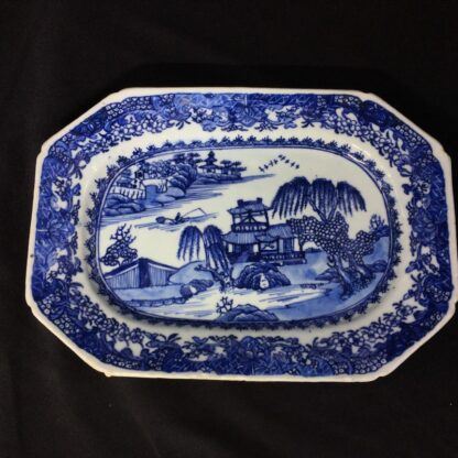 Chinese Export rectangular dish, river landscape in blue, c. 1760 -0