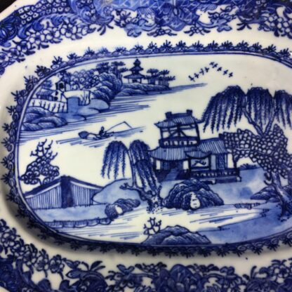 Chinese Export rectangular dish, river landscape in blue, c. 1760 -27827