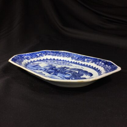 Chinese Export rectangular dish, river landscape in blue, c. 1760 -27825