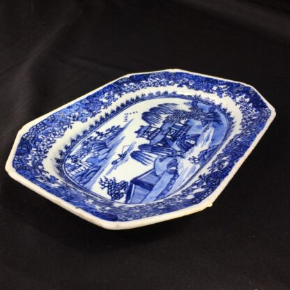 Chinese Export rectangular dish, river landscape in blue, c. 1760 -27826