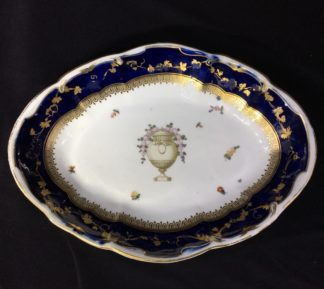 Gold Anchor Chelsea dish, mazarine blue with flowers & urn, c.1765-0