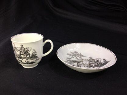 Worcester cup & saucer, Hancock 'Tea Party' print in black, c. 1770 -27677