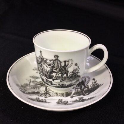 Worcester cup & saucer, Hancock 'Tea Party' print in black, c. 1770 -27682
