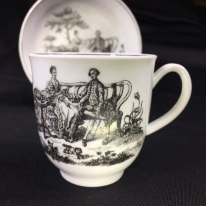 Worcester cup & saucer, Hancock 'Tea Party' print in black, c. 1770 -27685