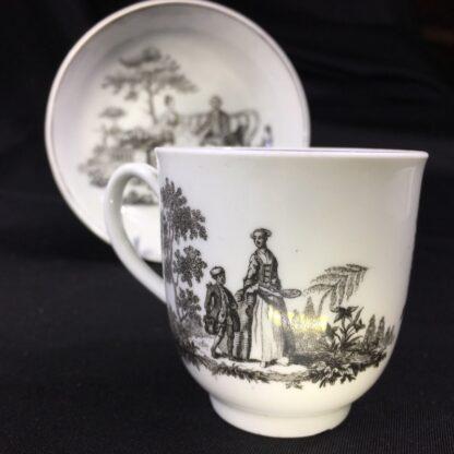 Worcester cup & saucer, Hancock 'Tea Party' print in black, c. 1770 -27684