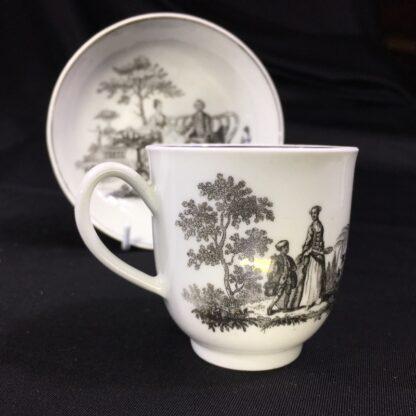 Worcester cup & saucer, Hancock 'Tea Party' print in black, c. 1770 -27687