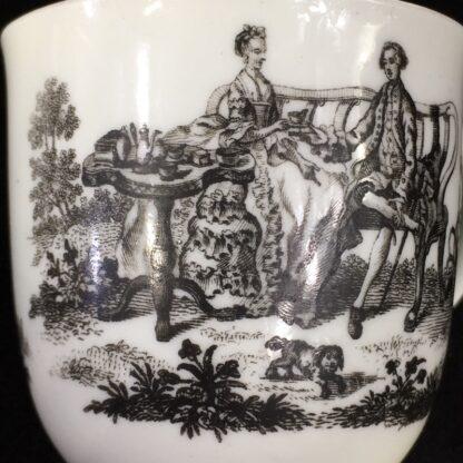 Worcester cup & saucer, Hancock 'Tea Party' print in black, c. 1770 -27686
