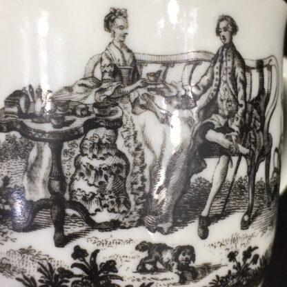 Worcester cup & saucer, Hancock 'Tea Party' print in black, c. 1770 -27691