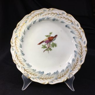 Chelsea plate, Rococo leaf moulding with birds, Gold Anchor circa 1760-0