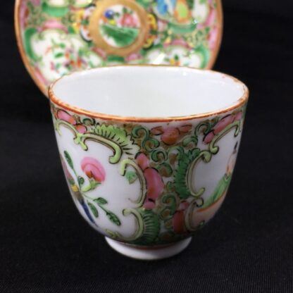 Small Cantonese (Chinese) 'Rose Medallion' cup & saucer, c. 1870-27960