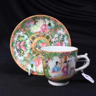 Cantonese (Chinese) 'Rose Medallion' cup & saucer, c.1880-0