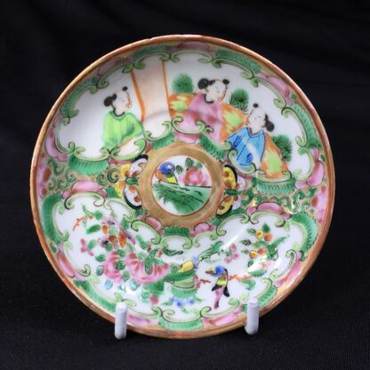 Small Cantonese (Chinese) 'Rose Medallion' cup & saucer, c. 1870-27963
