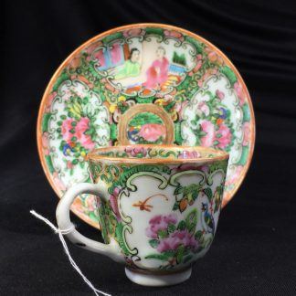 Cantonese (Chinese) 'Rose Medallion' cup & saucer, c. 1870-0