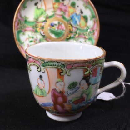 Small Cantonese (Chinese) 'Rose Medallion' cup & saucer, c. 1870-27964