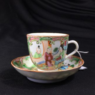 Small Cantonese (Chinese) 'Rose Medallion' cup & saucer, c. 1870-0