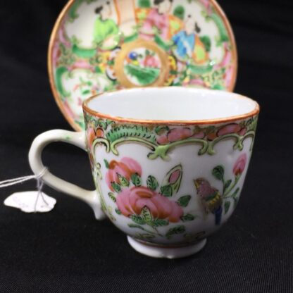 Small Cantonese (Chinese) 'Rose Medallion' cup & saucer, c. 1870-27961