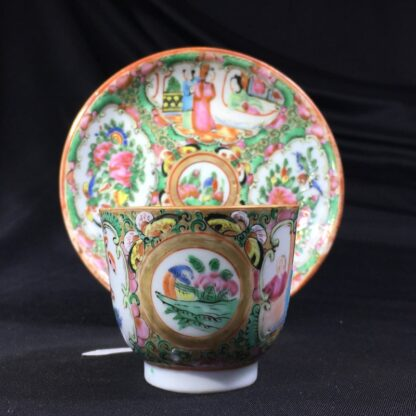 Cantonese (Chinese) 'Rose Medallion' cup & saucer, c.1870-27956