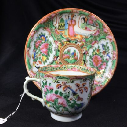 Cantonese (Chinese) 'Rose Medallion' cup & saucer, c.1870-0