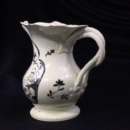 English creamware jug, Dutch decorated with 'Jesuit' religious scene in black, c.1775 -28207