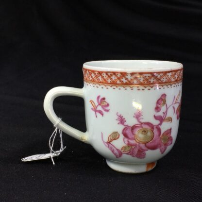 Chinese Export coffee cup, pink & gold flowers, c. 1760 -28248