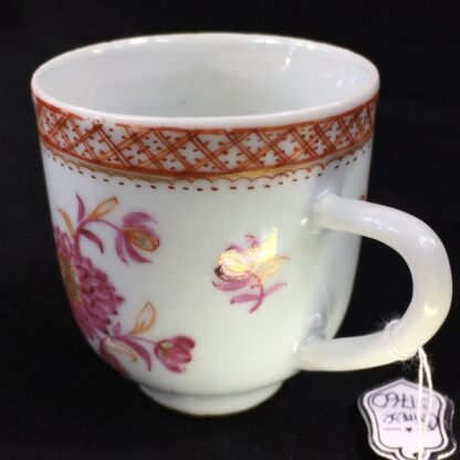 Chinese Export coffee cup, pink & gold flowers, c. 1760 -28247
