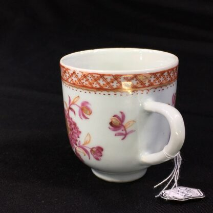 Chinese Export coffee cup, pink & gold flowers, c. 1760 -28245