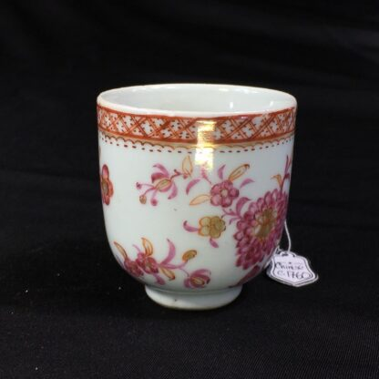 Chinese Export coffee cup, pink & gold flowers, c. 1760 -28244