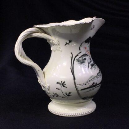 English creamware jug, Dutch decorated with 'Jesuit' religious scene in black, c.1775 -28208