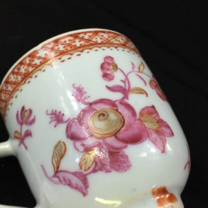 Chinese Export coffee cup, pink & gold flowers, c. 1760 -28251