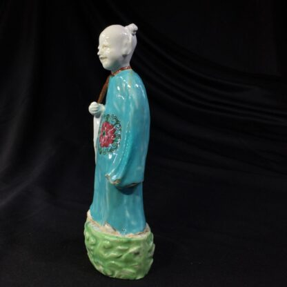 Chinese figure of an attendant, turquoise robe, 18th century -28051