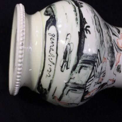 English creamware jug, Dutch decorated with 'Jesuit' religious scene in black, c.1775 -28210