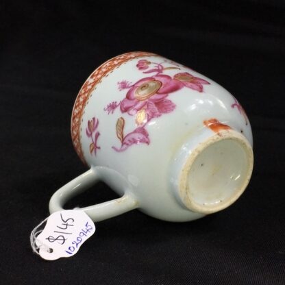Chinese Export coffee cup, pink & gold flowers, c. 1760 -28249
