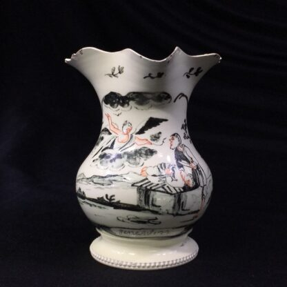 English creamware jug, Dutch decorated with 'Jesuit' religious scene in black, c.1775 -28209
