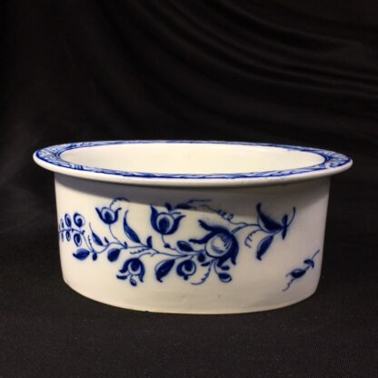 Pearlware potted meat pan, Worcester style flowers, c. 1770 -0