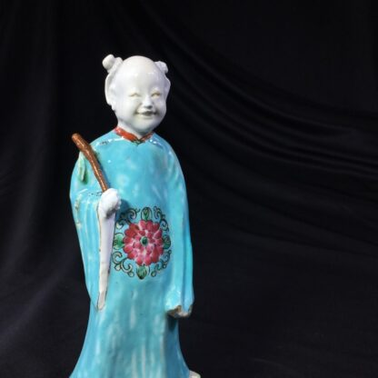 Chinese figure of an attendant, turquoise robe, 18th century -28056