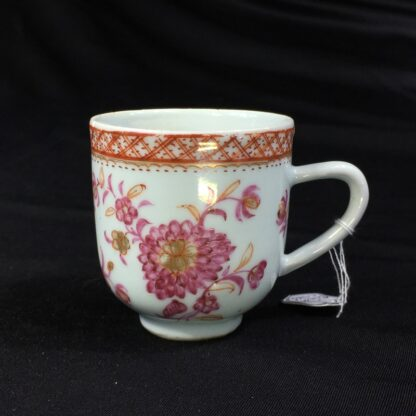 Chinese Export coffee cup, pink & gold flowers, c. 1760 -0