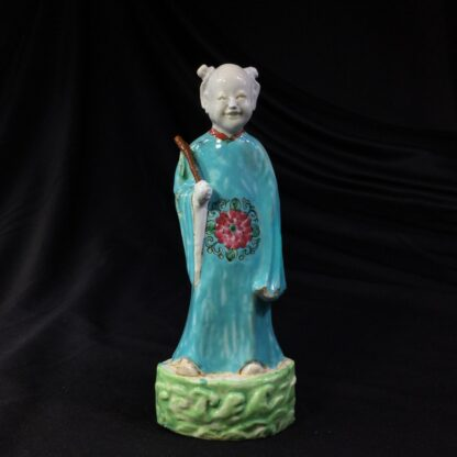 Chinese figure of an attendant, turquoise robe, 18th century -0