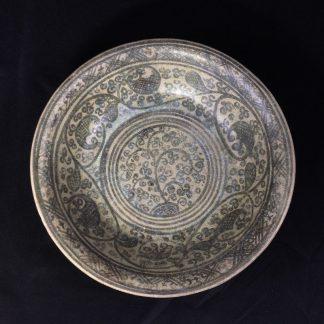 Sukhothai (Thai) stoneware dish, foliate dec, 15th - 16th century AD-0